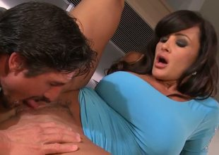 Breathtaking busty milf Lisa Ann is enjoying some really hardcore fun with her lover and she is all over his dong until it is hard enough for her tight twat.