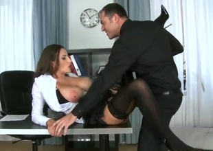Brunette Sensual Jane moans while sucking James Brossmans love torpedo harder and harder
