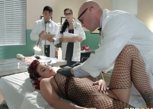MILF in red shoes gives blowjob to Dr. Johnny Sins