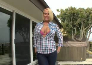 Mellanie Monroe is mature lady, but I need to say that she is truly hot and horny, she can demonstrate fantastic act with her big boobs and huge ass. Blonde takes off her clothes and proves that she is exciting lady.