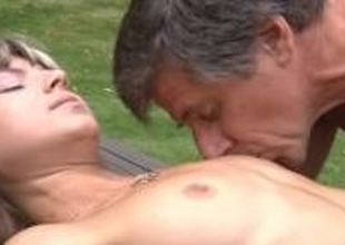 Youthful and skinny Gina Gerson fucks the old and big boned gardener!