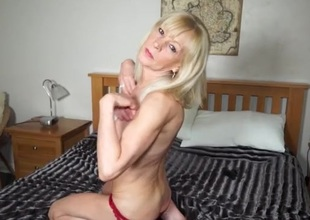 Red satin panties cling to her soaked mature pussy