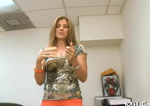 Gorgeous blonde MILF lets loose during her office audition