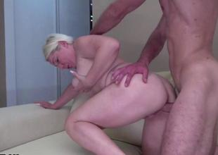 Blond older gets nailed by a young stud
