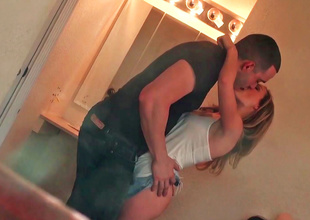 Pleasant girl is filmed by her voyeur boyfriend while changing