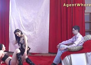 Shy nerd receives wild striptease from two czech beauties