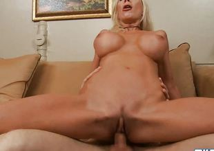 Blonde milf Puma Swede rides a hard rod of meat