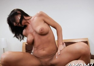 Hot looking older relieves her incredible raunchy tension